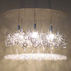 water pressure lighting by dwellings ltd - lather up! swarovski crystal chandelier by water pressure lighting - an invigorating shower converges with soap to build a soothing bubbly lather.  water pressure…modern water-inspired chandeliers made with SWAROVSKI ELEMENTS and eco-friendly LED lighting.
