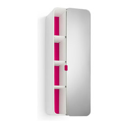 WS Bath Collections - 31.9 in. Bathroom Cabinet in White and Fuchsi - Contemporary design. Three shelves. Mirrored door. Designer high end quality. Warranty: One year. Made from plywood and stainless steel. Made in Italy. 12 in. W x 8.1 in. D x 31.9 in. H (30 lbs.). Spec Sheet