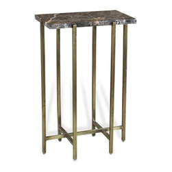 Interlude - Lara Rectangular Drink Table - The Lara Rectangular Drink Table combines chocolate marble with an antique brass finish base.