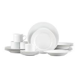 Aspen 20-Piece Dinnerware Set - Our Aspen dinnerware is an overture of grace and simplicity. Dressing up or down with ease, its elegant appearance belies its everyday durability. Trim, crisp lines in bright white porcelain; extensive array of pieces to choose from. Easy care.