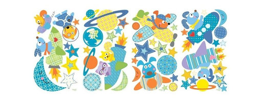 RoomMates Peel & Stick - Rocket Dog Wall Decals - Blast off with Rocket dog! These adorable wall decals are an easy way to decorate an outer space-themed nursery or child's bedroom in just seconds. Cute patterned dots, stars, planets, and various dogs and animal friends in spaceships come together to create a set of stickers that you'll love to decorate with. Place them on any smooth surface and remove as needed to stick them elsewhere-all without peeling away the paint or leaving behind any sticky residue.