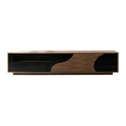 J&M Furniture - 101F TV Base by J&M Furniture - A beautiful play of Walnut veneer and Black high gloss that coalesces for an contemporary eyecatching design. Modern 101F TV base by J&M Furniture features quality soft closing tracks, and precut holes for easily connecting your choice of equipment.
