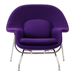 Nest Lounge and Ottoman Set in Purple - Inspired by mid-century modern design, this hybrid lounge–reception chair is a great addition to any living room or bedroom. Comfortable, classy, modern, and in bold and bright colors, the Nest Chair and Ottoman set are made of molded fiberglass with foam padding, with legs of stainless steel complete with foot caps to prevent scratching on floors. Experience the beauty of relaxation in this timeless classic duo.