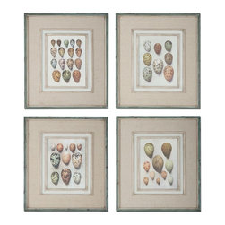 Uttermost - Uttermost Study Of Eggs Framed Art, Set of 4 51082 - These oil reproductions feature a hand applied brushstroke finish and are accented by gray, oatmeal linen mats. Frames have an outer edge in lightly distressed, muted aqua undertones with a heavy charcoal wash.