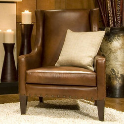 Elements Fine Home Furnishings - Bristol Top Grain Leather Chair - BRI-SC-RUST-1 - Upholstered in rustic top grain leather