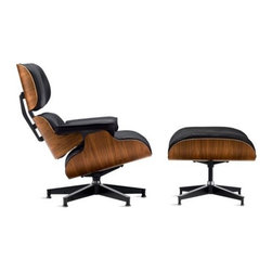 """Herman Miller - Eames Lounge Chair - In continuous production since its introduction in 1956, the Eames Lounge Chair is widely considered one of the most significant designs of the 20th century. It was the culmination of Charles and Ray Eameses' efforts to create a club chair using the molded plywood technology that they pioneered in the '40s. In Charles Eames' words, the vision was a chair with the """"warm, receptive look of a well-used first baseman's mitt."""" This original is an authentic, fully licensed product of Herman Miller®, Inc. Eames is a licensed trademark of Herman Miller. A timeless design, it's constructed to last lifetimes: Entirely hand-assembled, all parts are replaceable by Herman Miller. The seat is balanced on a five-star, die-cast aluminum base with adjustable stainless steel glides for uneven floors. Available in Spinneybeck® Vicenza leather – a high-quality, Greenguard-certified leather with a breathable finish that protects against UV rays and spills. Made in U.S.A."""