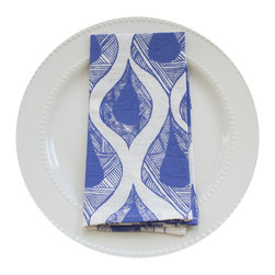 Teardrop Napkin, Blueberry - This 100% organic linen napkin set is uniquely hand designed, printed and sewn to bring joy and color to your table.