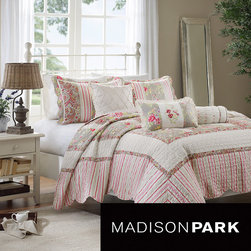 Madison Park - Madison Park Emilia Printed 6-piece Coverlet Set - For a cottage chic update to bedroom space, the Madison Park Emilia Coverlet is a perfect addition. Printed on cotton, the casual coverlet and shams feature floral, striped and solid sections that are pieced together to create a beautiful ensemble.