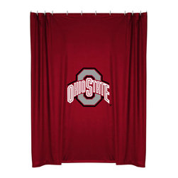 Sports Coverage - NCAA Ohio State Buckeyes College Bathroom Shower Curtain - Features: