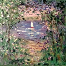 Springtime Sailing 12 X 12  (Original) by Jean Vadal Smith Bentson - Cherry blossoms along a spring pond . Lovely sailboat off in the distance. Lots of palette knife through out this painting.