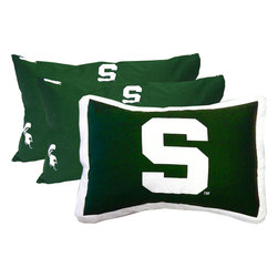 College Covers - NCAA Michigan State Pillowcase Set 3pc Green Bed Accessories - FEATURES: