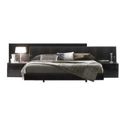 Rossetto - Rossetto Nightfly Platform Bed 6 Piece Bedroom Set in Ebony - Rossetto - Bedroom Sets - T4126003X50036PcBedPKG - Rossetto Nightfly Platform Bed in Ebony (included quantity: 1) Ebony and upholstery with a crocodile finish, wood grains and textures create a varied and precious overall effect while an extendible headboard adapts to all requirements of space.