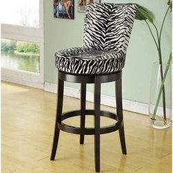 Armen Living Boston Swivel Counter Stool - 26 in. - Zebra - The Armen Living Boston Swivel Counter Height Stool in Zebra a stool for your safari style in counter seat height. Wood base and legs with black finish. Swivel seat with upholstery in black and white zebra fabric. Thick ring footrest with protectors. Feet protectors for your floor. Stool as decorative nailhead accents on the backrest. Stool dimensions: 22W x 22D x 40H inches. Seat height: 26 inches. Faux animal skin look and feel. About Armen LivingImagine furniture without limits - youthful robust refined exuding self-expression at every angle. These are the tenets Armen Living's designers abide by when creating their modern furniture collections. Building on more than 30 years of industry experience Armen Living combines functional versatility and expert craftsmanship into their dramatic furniture styles all offered at price points fit for discriminating budgets. Product categories include bar stools club chairs dining tables ottomans sofas and more. Armen Living is based in Sun Valley Calif.