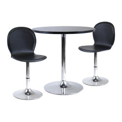 """Winsome Wood - Winsome Wood Spectrum 3 Piece Round Dinning Table & 2 Swivel Faux Leather Chairs - 3 Piece Round Dinning Table & 2 Swivel Faux Leather Chairs belongs to Spectrum Collection by Winsome Wood Great 3pc Dining table set is perfect addition to your contemporary home, game room or office. 29"""" Round table made of MDF Table and metal base. 2 swivel faux leather seat chairs. Easy assembly. Dinning Table (1), Swivel Chair (2)"""