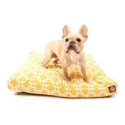 Majestic Pet - Majestic Pet Links Rectangle Pet Bed - 78899550028 - Shop for Beds Covers and Fill from Hayneedle.com! Instead of chain-link fences try the Majestic Home Goods Links Rectangle Pet Bed. Durable weather treated and waterproofed this drool-worthy pet bed s bold pattern is an eye-catching addition to any indoor or outdoor space. Perhaps more importantly its soft super plush polyfill stuffing will lull your lounging Lab to sleep. AboutMajestic Home GoodsIn 1993 Majestic Home Goods began making homes more comfortable by designing beautiful household items. Bold patterns and colors have been a hallmark for this California-based company. Whether you re shopping to liven up your indoor living space or you want to create an outdoor oasis Majestic Home Goods provides high-quality furniture and accents pieces.
