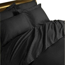 SCALA - 300TC 100% Egyptian Cotton Stripe Black California King Size Flat Sheet + 2 Pill - Redefine your everyday elegance with these luxuriously super soft Flat Sheet. This is 100% Egyptian Cotton Superior quality Flat Sheet that are truly worthy of a classy and elegant look.  includes: King Size Flat Sheet 1 Flat Sheet 108 Inch (length) X 102 Inch (width).2 Pillowcase 20 Inch (length) X 40 Inch (width).
