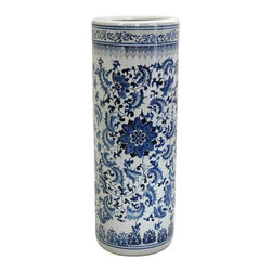 "Oriental Furniture - 24"" Floral Blue & White Porcelain Umbrella Stand - Two-foot tall round umbrella stand, finished with a classic royal blue vine and flower pattern against traditional china white background. A practical and beautiful decorative accessory, great for storing umbrellas, canes, and walking sticks in a hall, foyer, or entry."