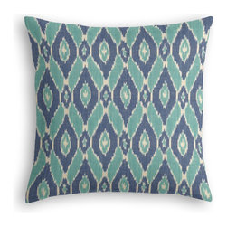 Blue & Aqua Handwoven Ikat Custom Throw Pillow - The every-style accent pillow: this Simple Throw Pillow works in any space.  Perfectly cut to be extra fluffy, you'll not only love admiring it from afar but snuggling up to it too!  We love it in this blue & turquoise handwoven diamond ikat.  an artisan classic straight from india to your home.