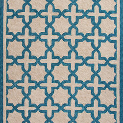 Jaipur Rugs - Moroccan Pattern Polyester Blue/Taupe Indoor-Outdoor Area Rug ( 2x3 ) - These Catalina rugs will add a pop to any outdoor space with its rich inspiration from Moroccan trellis and tile patterns.