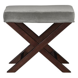 X-base Bench/Vanity Stool, Como Nickel - This great stool incorporates two hot fall trends: velvet and gray.