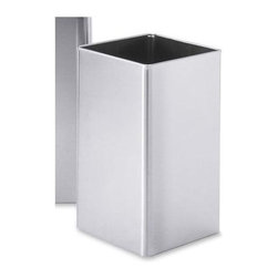Zack - Angolo Waste Paper Basket - Square shape. Stylish, sophisticated and logical design. Brushed silk polish. Made from 18/10 stainless steel. Made in Germany. 7.9 in. L x 7.9 in. W x 15.7 in. H (74.1 oz.)