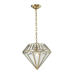 Elk - Joline Collection 1-Light Pendant in Brushed Brass - This pendant is proudly shaped into a multifaceted diamond pattern with a combination of seedy and clear glass panels, clutched by a solid brushed brass frame.