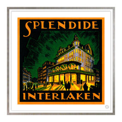 Studio Eight - SLENDIDE, INTERLAKEN, GOLDEN AGE OF TRAVEL VINTAGE ART RESORATION SERIES , - SLENDIDE, INTERLAKEN.