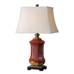 Uttermost - Uttermost Fogliano Red Ceramic Lamp 26497 - Rustic red ceramic with burnt orange accents, rust bronze distressing and gilded gold details. The rectangle bell shade is a beige linen fabric.