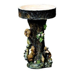 Kelkay - Squirrel Tree Bird Bath - Kelkay Bird Baths and Statues are constructed from durable resin-Stone. Designed exclusively by Kelkay.