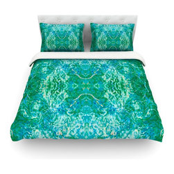 """Kess InHouse - Nikposium """"Eden"""" Teal Green Cotton Duvet Cover (Twin, 68"""" x 88"""") - Rest in comfort among this artistically inclined cotton blend duvet cover. This duvet cover is as light as a feather! You will be sure to be the envy of all of your guests with this aesthetically pleasing duvet. We highly recommend washing this as many times as you like as this material will not fade or lose comfort. Cotton blended, this duvet cover is not only beautiful and artistic but can be used year round with a duvet insert! Add our cotton shams to make your bed complete and looking stylish and artistic! Pillowcases not included."""