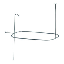 None - Shower Curtain Rod/ Shower Riser Set - This ceiling-mounted shower curtain rod adds authenticity to your clawfoot tub. Crafted of solid brass, the set includes all mounting hardware for easy installation and utilizes standard US plumbing connections. Both rod and riser are included.