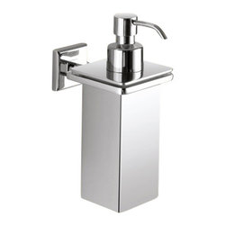 Gedy - Wall Mounted Square Polished Chrome Soap Dispenser - Modern, trendy wall soap dispenser made of chromed brass.