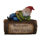 Alpine - Gnome Lying on Log Statuary - Add color, spice and life to your outdoors with these cast stone resin gnome statuaries. These sturdy statuaries boast hues of blue, green and red.Features: