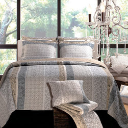 None - Soho 3-Piece Quilt Set - With rows of modern stencil prints in updated floral and rococo motifs on a neutral ground, the Soho quilt set defines metro chic style. The quilt reverses to a coordinating geometric neutral herringbone print.