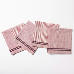 """Coyuchi - Coyuchi Drifting Stripe Mulberry Napkins Set of 4 - The Coyuchi Drifting Stripe table napkins express unique stripes in an earthy, mulberry pink hue. Rich with texture, woven, charcoal gray lines lend dimensional depth. 22""""W x 22""""H; Set of four; 100% organic cotton; Due to handmade quality, slight variations in fabric may occur; Machine washable"""