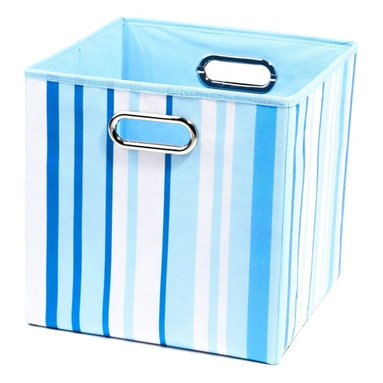 Modern Littles - Modern Littles 10 in. Sky Stripes Storage Bin - SKYSTOR302 - Shop for Craft Storages and Organizers from Hayneedle.com! Get your organization system in line with the Modern Littles 10 in. Sky Stripes Storage Bin. Crafted with a durable cardboard core and sturdy blue striped canvas cover this modern bin makes cleanup and storage simple with an easy-fill open-top shape. Built-in carrying handles let you move the bin from room to room with ease and the whole bin folds flat for neat storage when not in use.About Modern LittlesWhen it comes to the building blocks of a well-designed kid's room Modern Littles' storage bins create a solid foundation. The company specializes in clean modern storage bins - as well as prints wall decals and laundry baskets - that help parents create fully organized coordinated spaces with just a few practical pieces. Six collections are appropriate for boys and girls with something for every age from newborn to teen.