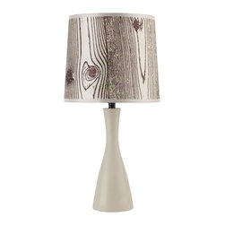 Lights Up - Oscar Boudoir Round Table Lamp in Soy Finish (Snowflake) - Fabric: Snowflake. Bulb not included. Requires one 60 watt bulbs. UL listed. On/Off socket switch. Voltage: 120 Volts. 9 in. Dia. x 18 in. H