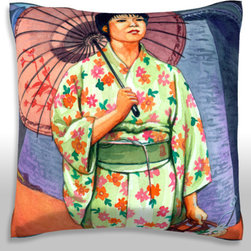 Custom Photo Factory - Woman in Kimono with Parasol Pillow.  Polyester Velour Throw Pillow - Woman in Kimono with Parasol Pillow. 18 Inches x 18  Inches.  Made in Los Angeles, CA, Set includes: One (1) pillow. Pattern: Full color dye sublimation art print. Cover closure: Concealed zipper. Cover materials: 100-percent polyester velour. Fill materials: Non-allergenic 100-percent polyester. Pillow shape: Square. Dimensions: 18.45 inches wide x 18.45 inches long. Care instructions: Machine washable