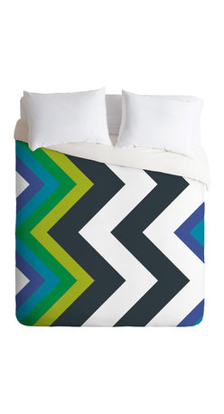 DENY Designs - Karen Harris Modernity Galaxy Cool Chevron Queen Duvet Cover - Count on chevron to make a sharp impression in your bedroom. Black and white bring graphic appeal, but the inclusion of shades of blue and green help ground the color palette and provide a jumping off point for designing a whole room.