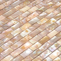 Stone & Co - Beige Mother of Pearl Natural 5/8 x 1 - 1/4 inch Mini brick Mosaic Tile with Por - Beige Mother of Pearl Natural 5/8 x 1 - 1/4 inch Mini brick Mosaic Tile with Porcelain Backing