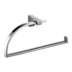 "Manillons - Cristal Small Towel Ring holder, 7.8"" Width - Cristal Collection. Elegant Bathroom Towel Ring made in brass polished chrome. Comes with adhesive type included. No drill required. Very convenient since it can be placed anywhere at any height and with mere work. Designed and manufactured in Spain"