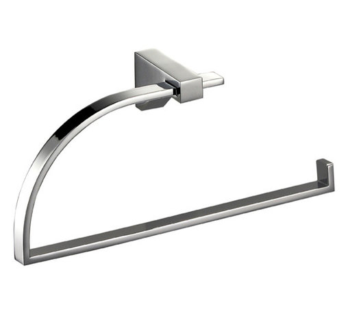 """Manillons - Cristal Small Towel Ring holder, 7.8"""" Width - Cristal Collection. Elegant Bathroom Towel Ring made in brass polished chrome. Highly reflective. Very convenient since it can be placed anywhere at any height and with mere work. Drilling required. Designed and manufactured in Spain"""