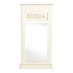 Holly & Martin - Holly & Martin Juliette Wall-Mount Jewelry Armoire-Antique White - Stop digging through a cluttered jewelry box and get organized with this lovely wall mount jewelry armoire. An antique white finish caresses the details of this traditionally styled armoire. Decorative floral applique is framed above the mirror and a beaded trim adds additional beauty. Black felt and an assortment of jewelry storage options line the inside. The door has a keyed lock on the right side to secure your valuables. Perfect for bedroom, bathroom, walk-in closet, or entryway, this jewelry armoire will be a beautiful addition to your home.