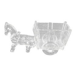 Antiques - Vintage English Decorative Flower Glass Horse w/ Cart - This is a beautiful vintage English decorative glass horse with cart. It features a beautiful horse that has a lovely glass cart with shaped wheels that can be used as a decorative display or for flowers or candy. This piece may show minor age appropriate signs of wear but as shown it is overall in very good cosmetic condition. Other Dimensions (In inches): Cart Space 2.75H x 4.5W x 2.5D.
