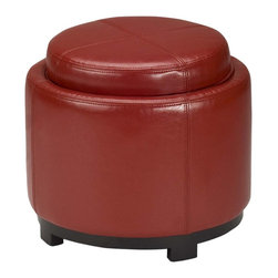 Safavieh - Safavieh Chelsea Storage Red Leather Round Tray Ottoman - Use this smooth leather ottoman to bring a splash of color to your living room. The red upholstery combines with the sturdy wooden frame to provide an enticing furniture option that perfectly fits your lifestyle.