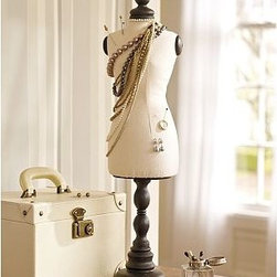 """Vintage Bust Form - Patterned after a vintage dressmaker's form, this mannequin is a whimsical way to display necklaces, scarves and hats. The ebony-stained base is turned from sustainable mango wood. 7.5"""" wide x 5"""" deep x 26.5"""" high Constructed of mango wood and cotton-canvas."""