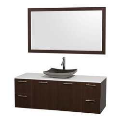 Wyndham Collection - Bathroom Vanity Set with Single Black Granite Sink - Includes mirror, sink, drain assemblies and P-traps for easy assembly. Faucets not included. White man made stone top. Two functional doors. Four functional drawers. Plenty of storage space. Metal exterior hardware with brushed chrome finish. Single-hole faucet mount. Eight stage preparation, veneering and finishing process. Highly water-resistant low V.O.C. sealed finish. Unique and striking contemporary design. Modern wall-mount design. Deep doweled drawers. Fully extending soft-close drawer slides. Engineered for durability and to prevent warping and last a lifetime. Made from veneers and highest quality grade E1 MDF. Espresso finish. Mirror: 59.25 in. W x 30 in. H. Vanity: 60 in. L x 22.25 in. W x 21.25 in. H. Care Instructions. Assembly Instructions - Vanity. Assembly Instructions - MirrorModern clean lines and a truly elegant design aesthetic meet affordability in the Wyndham Collection. The attention to detail on this elegant contemporary vanity is unrivalled.