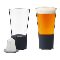 "Modern Borosilicate Glass Glasses - Set of 2 - The only thing worse than warm beer is being forced to drink it with ice cubes. Assert your dominance over the elements with this technologically sound set of self-chilling glasses. Created by business guru and designer Andrew Lazorchak, this ice replacement comes in the form of a stainless steel ""dimple"" inserted in the bottom of the pint glasses. A magnetic coaster keeps the coldness ""charged"" for up to half an hour, more than enough time to down an ice cold brew."