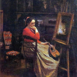 """Jean-Baptiste-Camille Corot The Studio Print - 16"""" x 20"""" Jean-Baptiste-Camille Corot The Studio (also known as Young Woman with a Mandolin) premium archival print reproduced to meet museum quality standards. Our museum quality archival prints are produced using high-precision print technology for a more accurate reproduction printed on high quality, heavyweight matte presentation paper with fade-resistant, archival inks. Our progressive business model allows us to offer works of art to you at the best wholesale pricing, significantly less than art gallery prices, affordable to all. This line of artwork is produced with extra white border space (if you choose to have it framed, for your framer to work with to frame properly or utilize a larger mat and/or frame).  We present a comprehensive collection of exceptional art reproductions byJean-Baptiste-Camille Corot."""