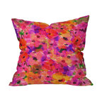 DENY Designs - Amy Sia Fleur Rouge Throw Pillow, 18x18x5 - Like falling into a painting by Monet, you'll fall for the grandiflora scale of these overlapping, watery blooms in pinks, reds and purples. Custom printed front and back on woven polyester, it's a great way to add color and pattern to your sofa or bed.